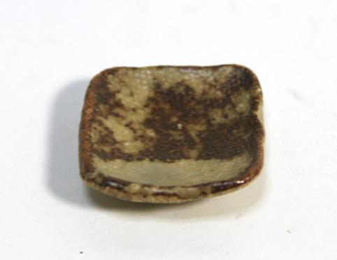 画像1: 陶芸四角皿・茶(特価)