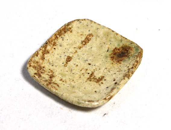 画像2: 陶芸・灰釉角皿(特価)