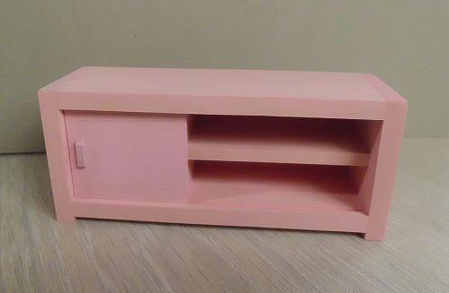 画像1: ピンク色の横長棚