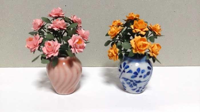 画像2: 大輪バラ 花瓶入り・ピンク