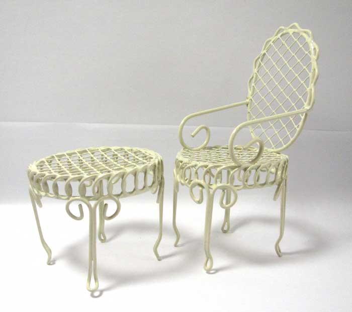 画像1: テーブルと椅子セット・アイボリー