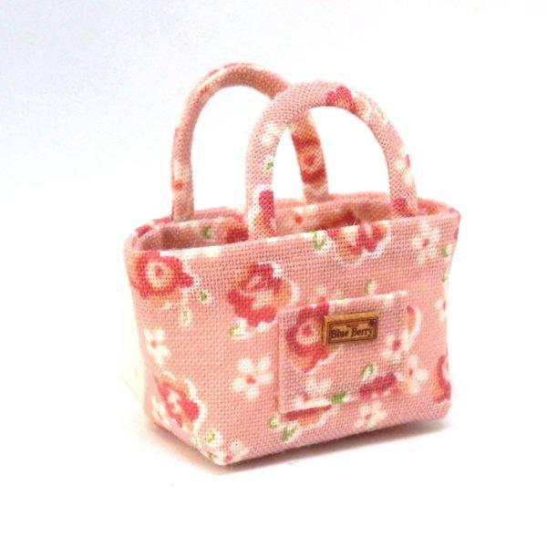 画像1: トートバッグ ピンク花柄
