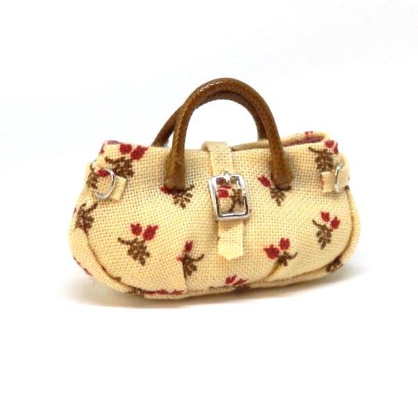 画像1: バッグ クリーム地花柄