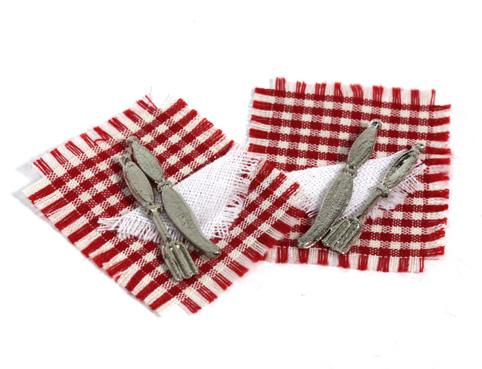 画像1: 赤ナフキンとナイフ・フォークセット