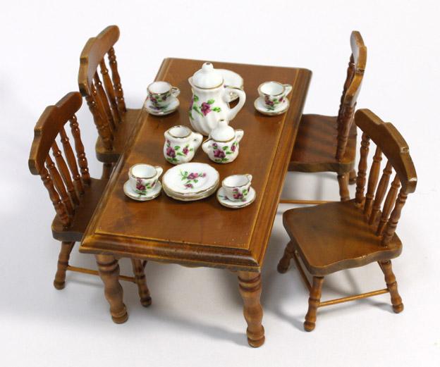 画像1: 角テーブルセット・ウォールナット