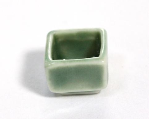 画像1: 陶器四角皿・グリーン