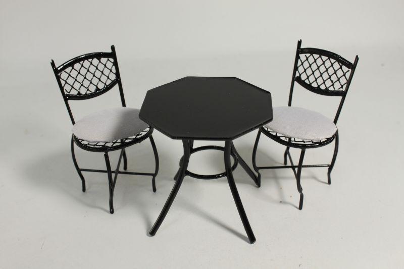画像1: カフェテラステーブルセット・ブラック