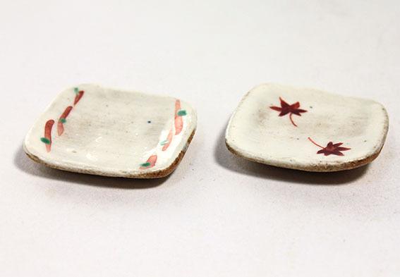 画像2: 陶芸・赤絵角皿/1枚