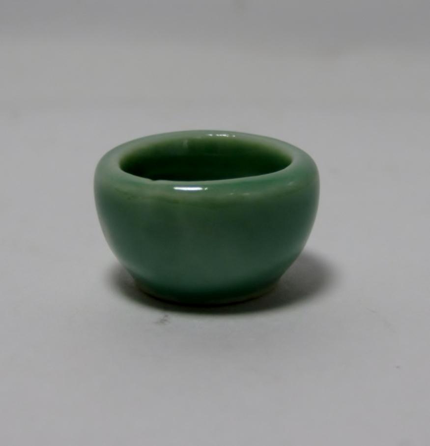 画像1: 陶器おわん グリーン