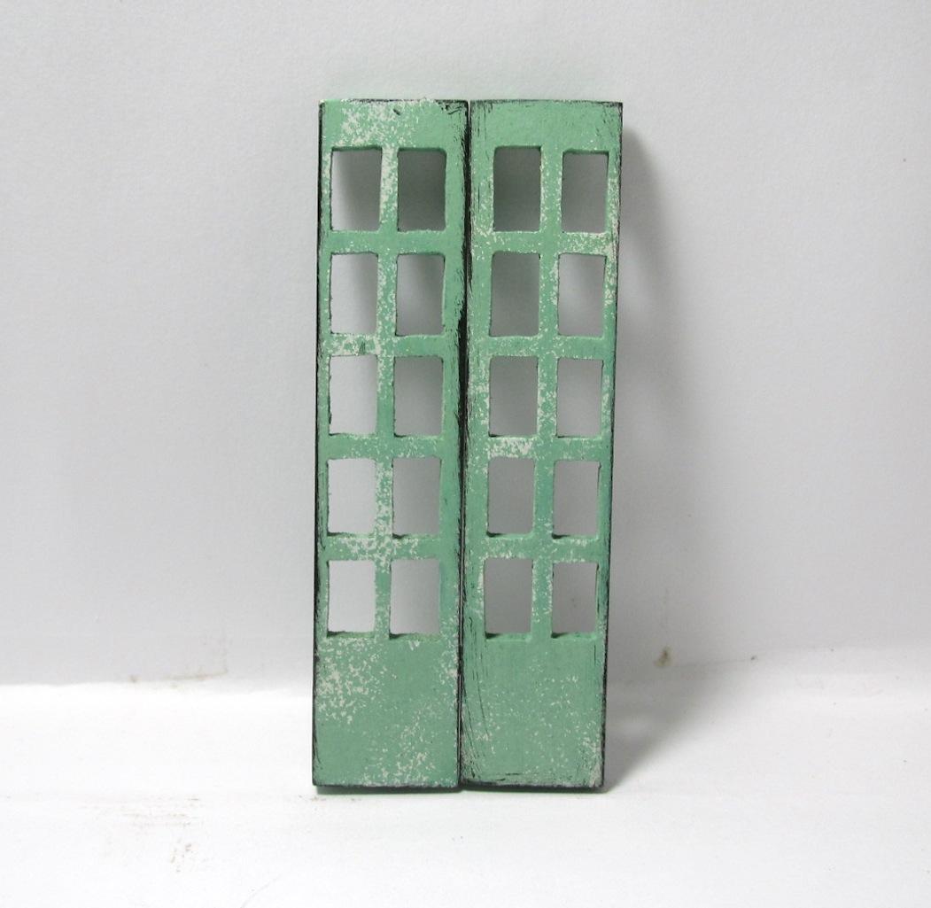 画像1: 窓付ドア グリーン