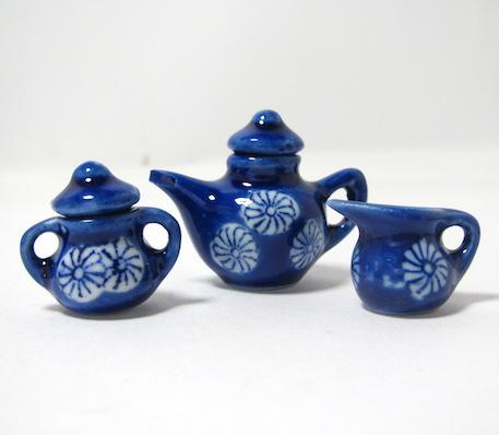 画像2: ミニティーセット藍染花紋