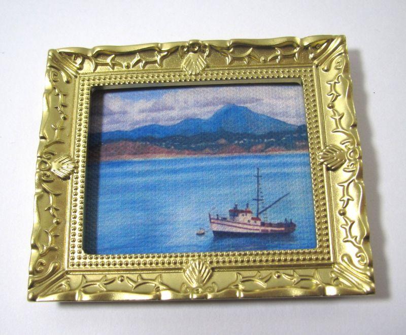 画像1: 絵画 船と山