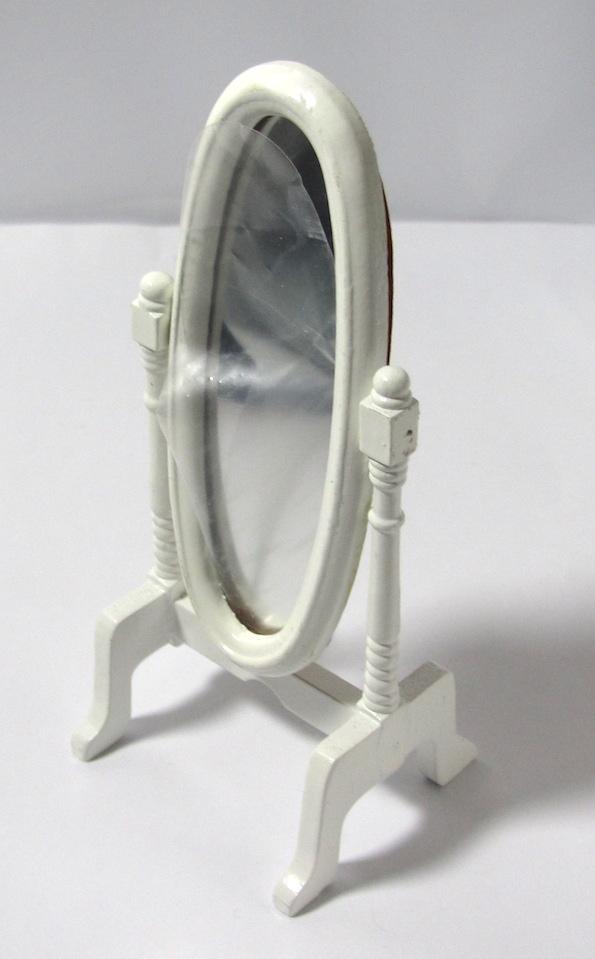 画像1: スタンドミラー木製ホワイト