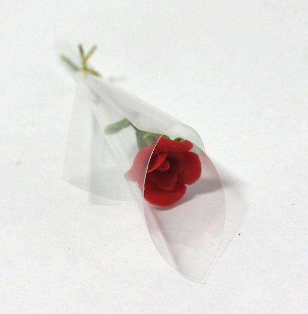 画像2: バラ花1本ラッピング・赤
