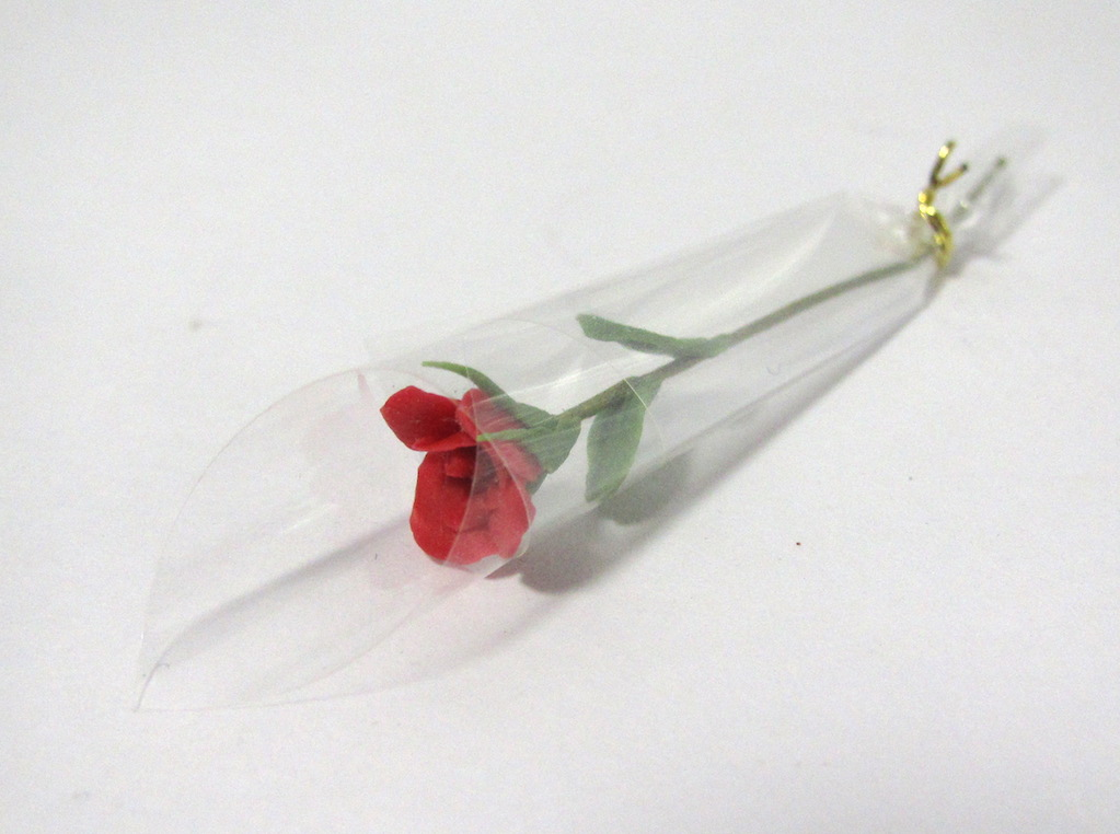 画像1: バラ花1本ラッピング・赤