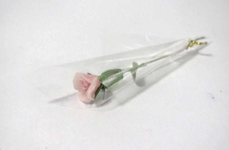 画像1: バラ花1本ラッピング・ピンク