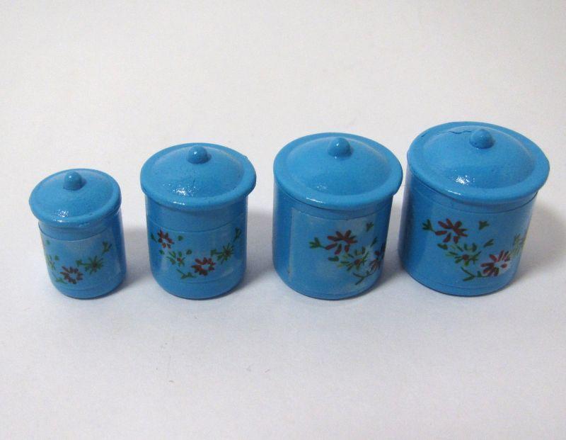 画像1: ティンキャニスター・ブルー花柄