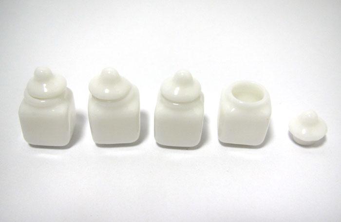 画像1: 白陶器ミニキャニスター4個セット