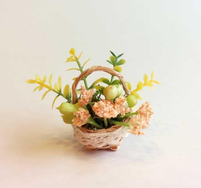 画像1:  ミニかご寄せ植え・サーモン花