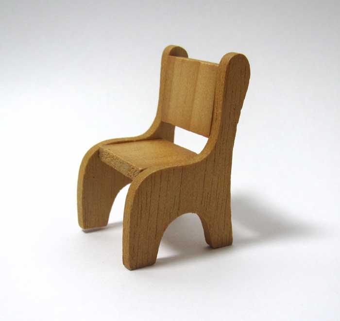 画像1: 木製ミニ椅子・オークル