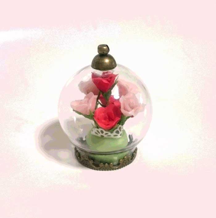 画像1: ガラスドーム(バラ)