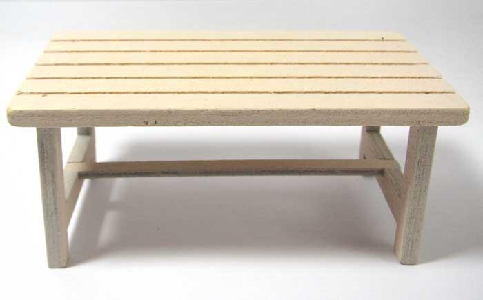 画像1: 木製テーブル・アイボリー