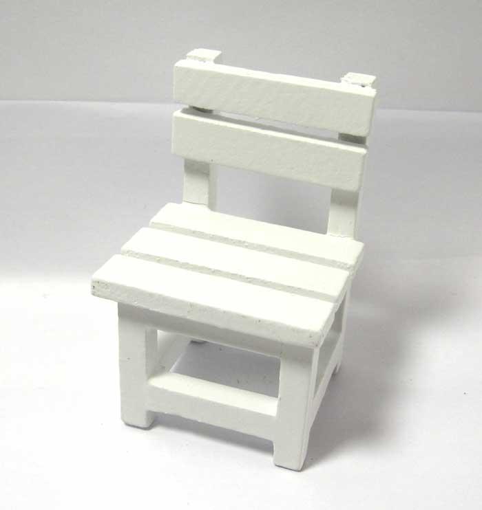 画像1: 木製ホワイト椅子