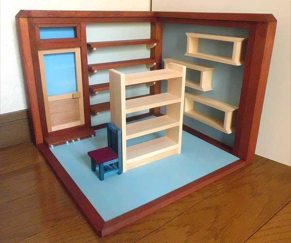 画像1: お店屋さんの棚(棚と椅子付き)