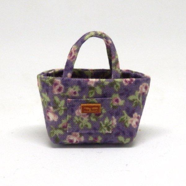 画像1: トートバッグ 紫花柄