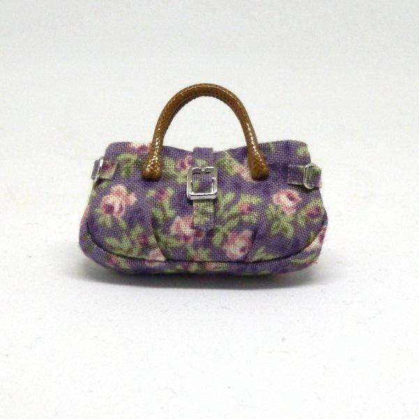 画像1: バッグ 紫花柄