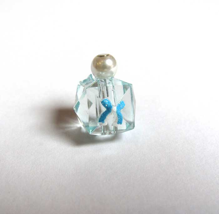 画像1: 化粧瓶ブルー・リボンワンポイント