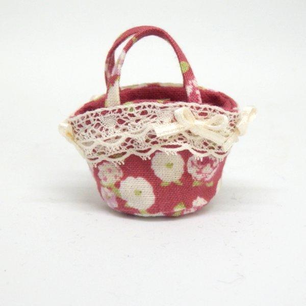 画像1: マルシェバッグ 赤花柄