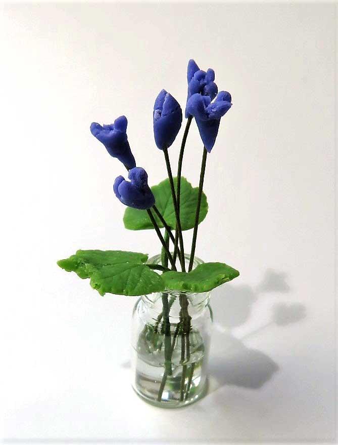 画像1: 紫小花(ガラス瓶入り)