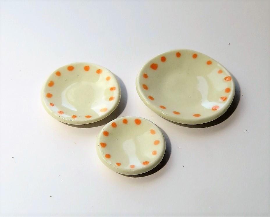 画像1: 水玉皿・橙(特価)