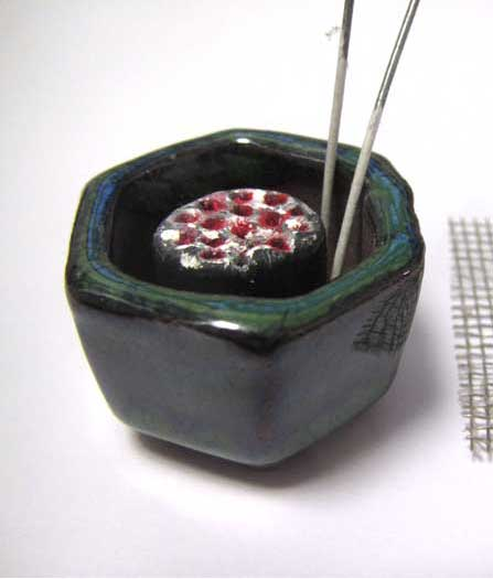 画像2: 火鉢セット緑色火鉢(2)