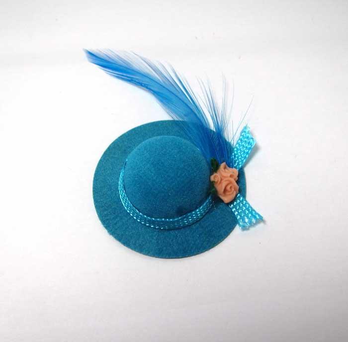 画像2: ブルー羽根つき帽子