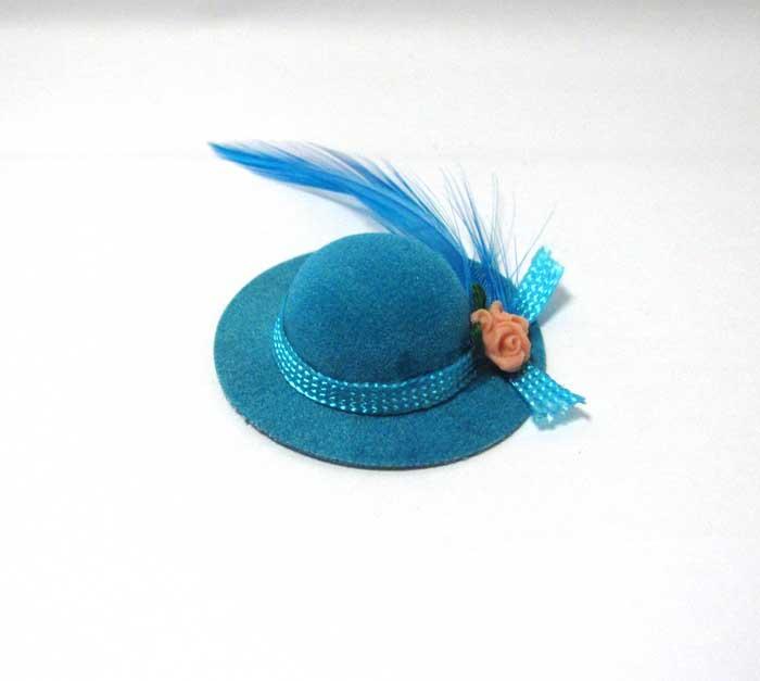 画像1: ブルー羽根つき帽子