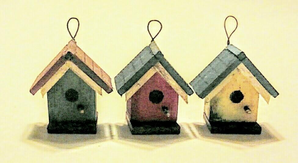画像1: 鳥の巣箱(赤)