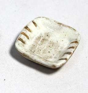 画像1: 陶芸・粉引角小皿・線入り