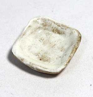 画像1: 陶芸・粉引角小皿・無地