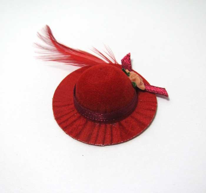 画像1: 赤羽根つき帽子