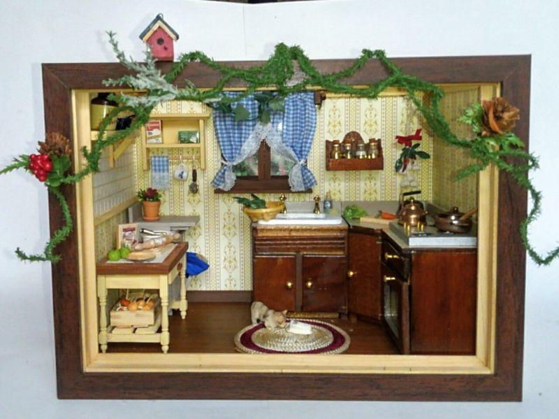画像1: ミニチュアフレーム〜大忙しのキッチン・クリスマスバージョン