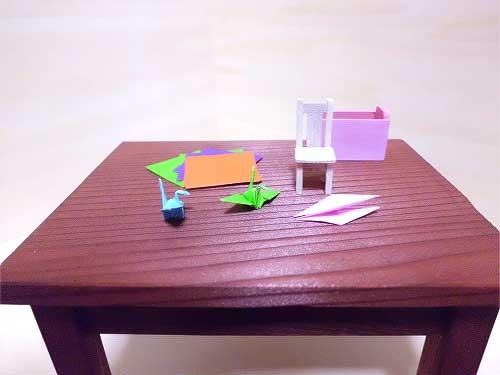 画像2: 机といすのセット(折り紙)