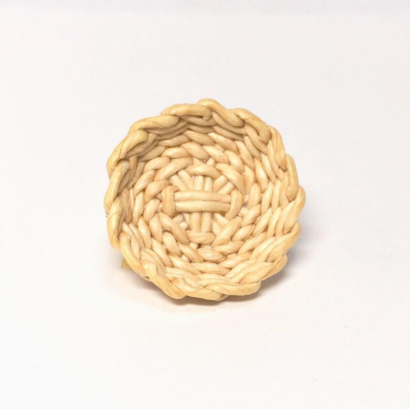 画像1: ハンドメイド 円形  浅かご