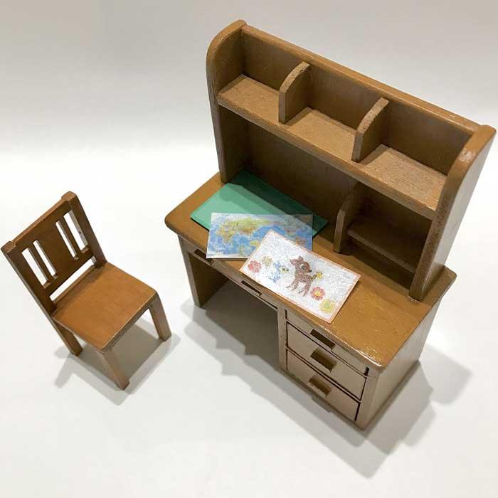 画像2: ミニチュア学習机・椅子付