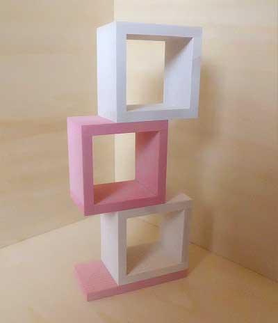 画像1: 変形棚(白とピンク)