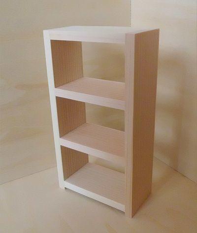 画像1: ヒノキの3段棚(無塗装)