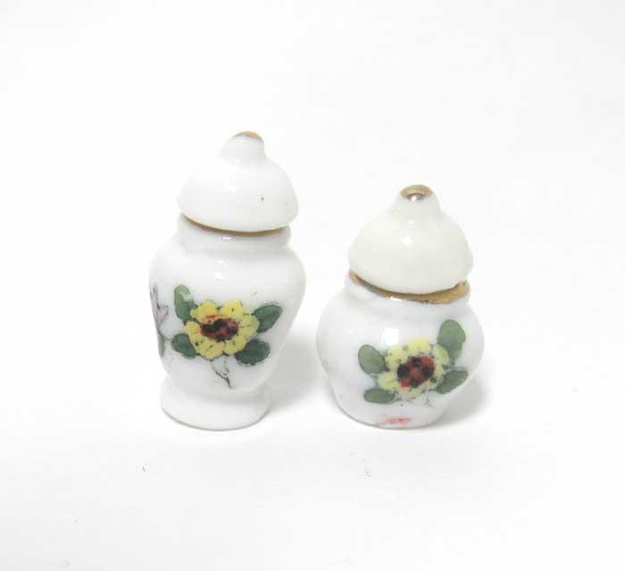 画像1: 陶器花柄ツボ2個セット