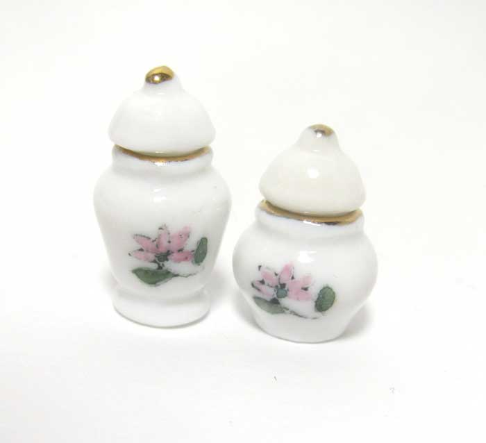 画像2: 陶器花柄ツボ2個セット