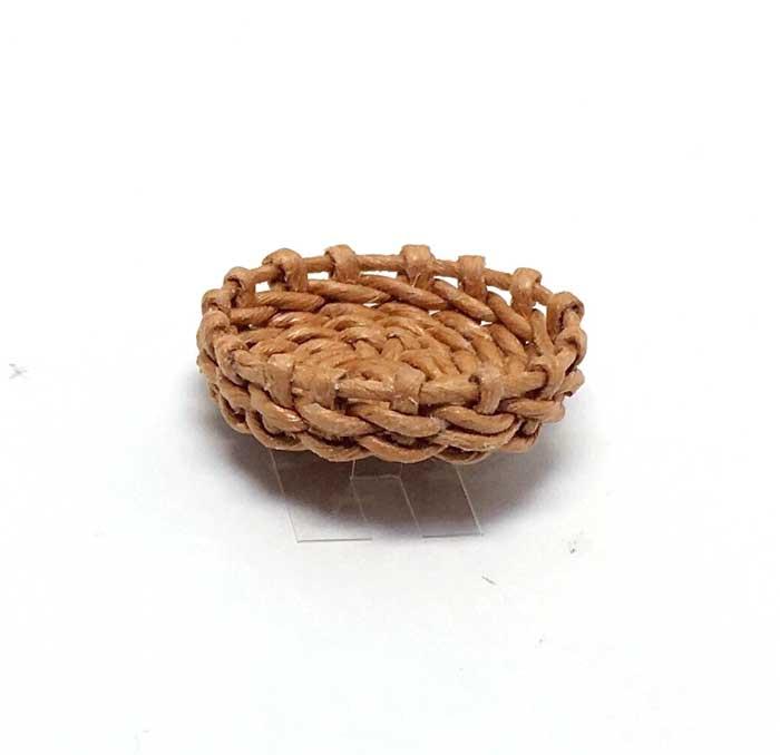 画像1: ハンドメイド 円形  浅かご(茶色)